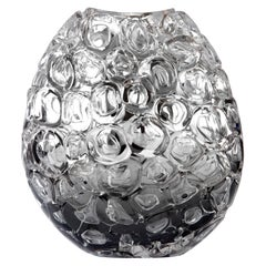 Bubblewrap in Monochrome I, a Silver and Clear Glass Vase by Allister Malcolm