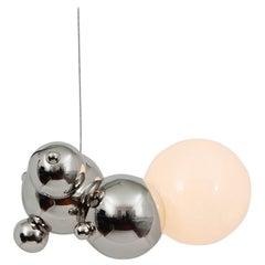 Bubbly 01-Light Pendant, Polished Nickel, Modern Molecular Sculptural Lighting
