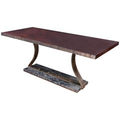 Bubinga Slab Top Banquette Table with Steel and Stone Base