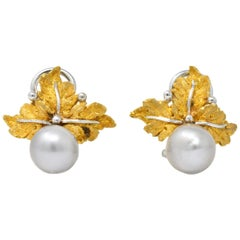 Buccellati Retro Cultured Pearl 18 Karat Gold Ear-Clips Earrings