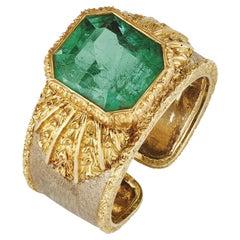 Buccelati 4,7 Carat Octagonal Cut Emerald and Bi-color Gold Ring