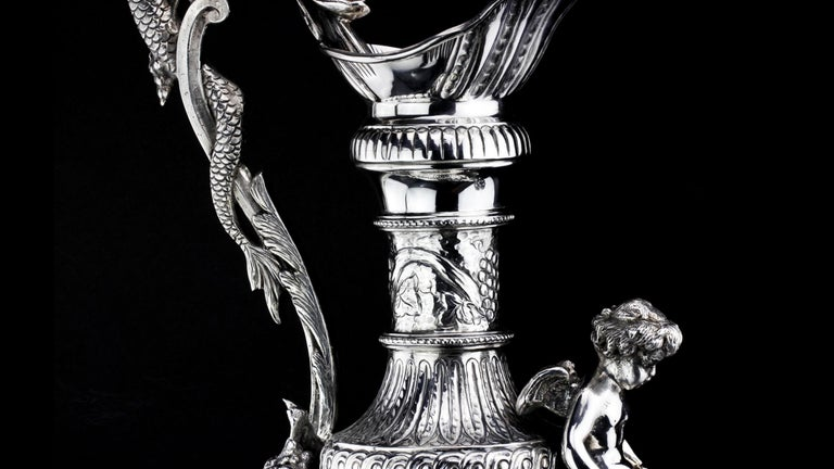 Buccelatti Antique Silver Wine Ewer, Made in Italy, circa 1900 For Sale 5