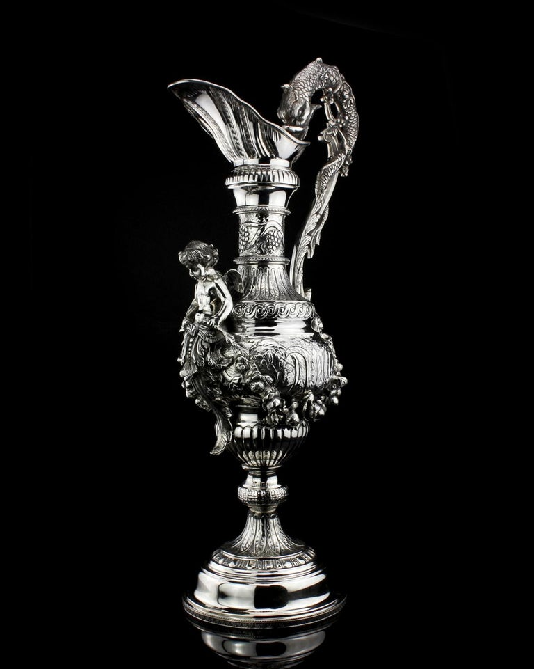 Buccelatti Antique Silver Wine Ewer, Made in Italy, circa 1900 In Excellent Condition For Sale In Braintree, GB