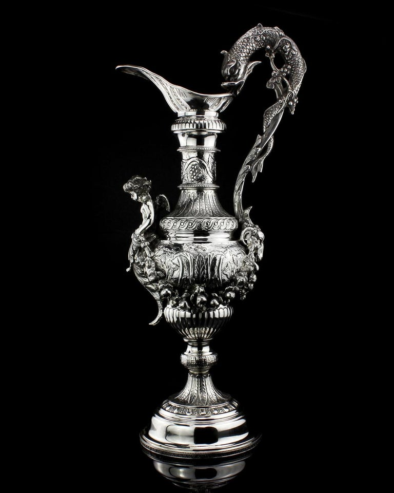 Early 20th Century Buccelatti Antique Silver Wine Ewer, Made in Italy, circa 1900 For Sale