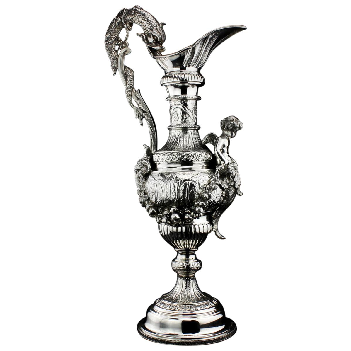 Buccelatti Antique Silver Wine Ewer, Made in Italy, circa 1900