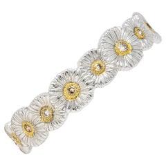 Buccellati 1.50 Carats Fancy Diamond Silver Vermeil Gardenia Flower Bracelet
