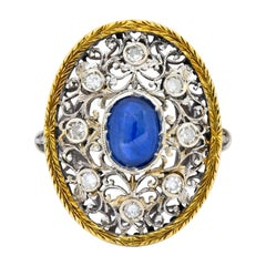 Buccellati 1.71 Carat Sapphire Diamond 18 Karat Two-Tone Gold Dinner Ring