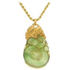 Buccellati 18 Karat Gold Carved Jade Elephant One of a Kind Pendant Necklace