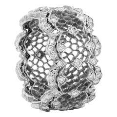 Buccellati 18 Karat Gold Diamond Honeycomb Tulle Ghirlanda Openwork Band Ring