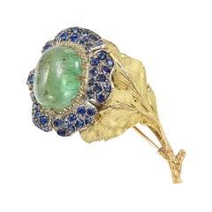 Buccellati 18 Karat Gold, Emerald and Sapphire Flower Pin