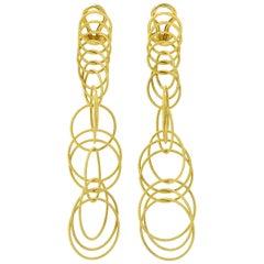 Buccellati 18 Karat Gold Hawaii Waikiki Circle Long Pendant Earrings