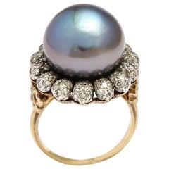 Buccellati 18 Karat Gold Pearl and Diamond Cocktail Ring