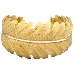 Buccellati 18 Karat Two-Tone Gold Leaf Cuff Bracelet