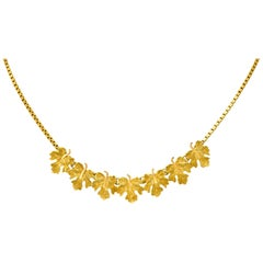 Buccellati 18 Karat Two-Tone Yellow Gold Italian Grape Leaf Necklace