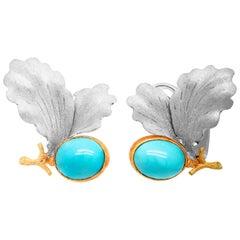 Buccellati 18 Karat White Yellow Gold Turquoise Floral Leaf Motif Earrings