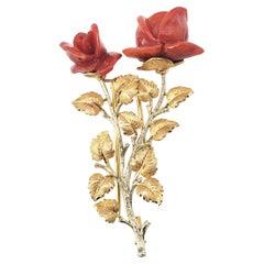 Buccellati 18 Karat Yellow and White Gold Coral Rose Brooch/Pin