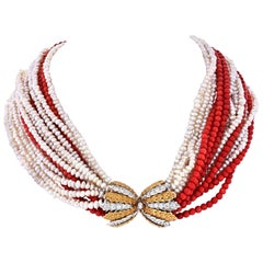 Buccellati 18 Karat Yellow Gold 16 String Coral, Pearl Diamond Clasp Necklace