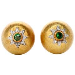 Buccellati 18 Karat Yellow Gold Emerald Dome Shape Button Earrings
