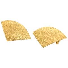 Buccellati 18 Karat Yellow Gold Fan Earrings