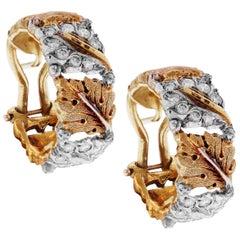 Buccellati 18 Karat Yellow White Gold Diamond Floral Hoop Earrings