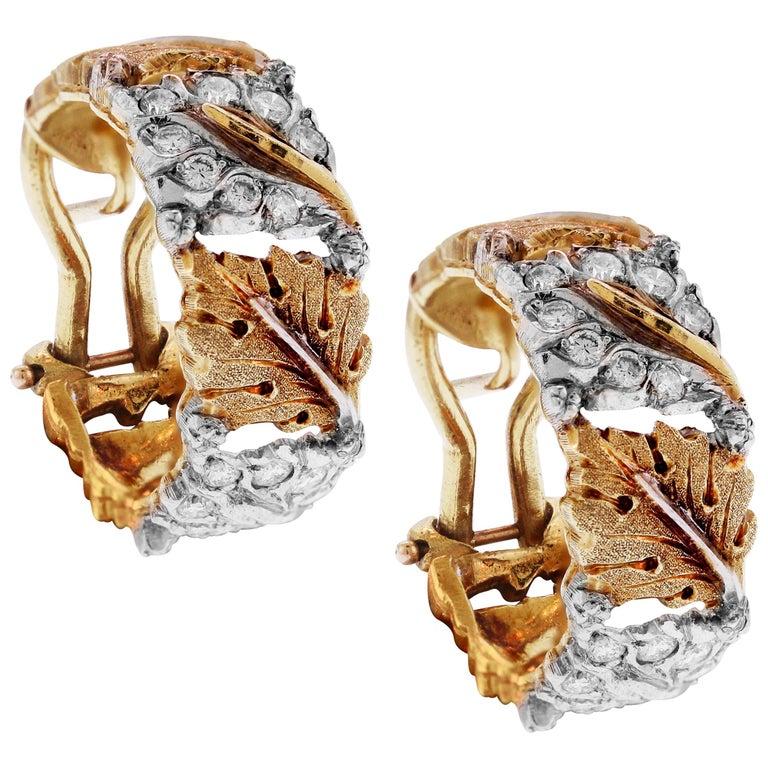 Buccellati 18 Karat Yellow White Gold Diamond Floral Hoop Earrings For Sale