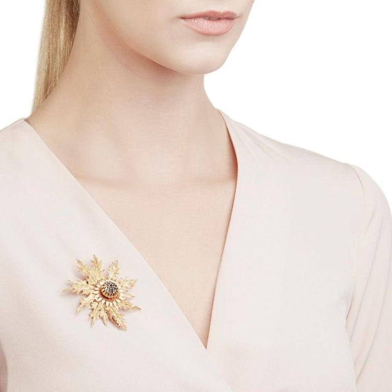 Buccellati 18 Karat Yellow, White & Rose Gold Vintage Thistle Brooch For Sale 2