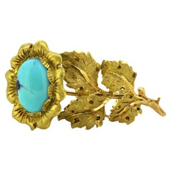 Buccellati 18K Gold Brooch with Turquoise, Made in Italy, circa 1970s