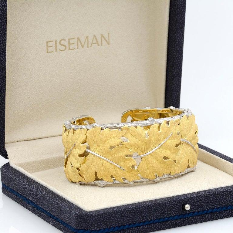 Buccellati 18k Gold Textured Leaf Cuff Bracelet For Sale 6