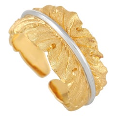 Buccellati 18k Yellow and White Gold Leaf Band Ring