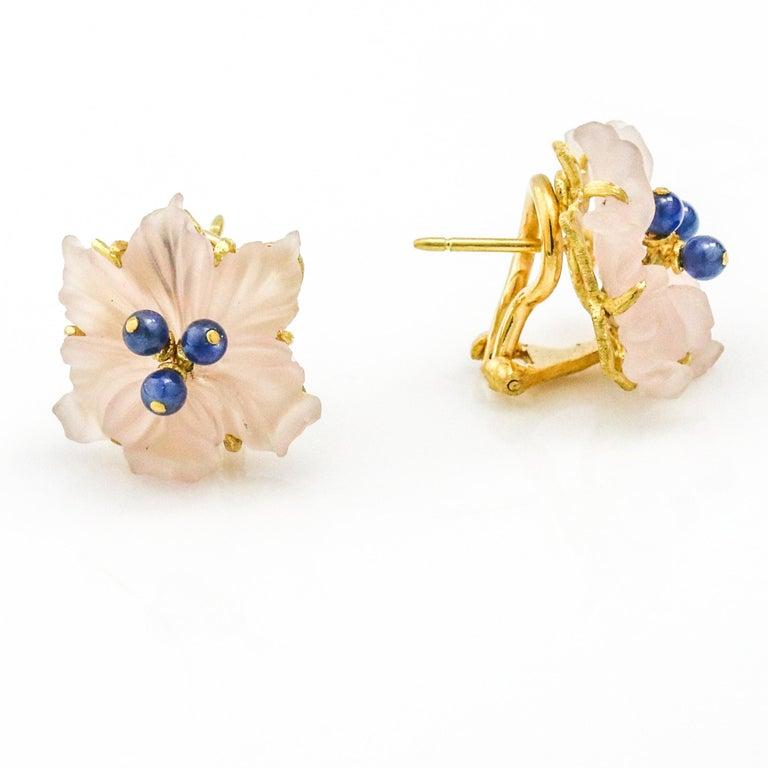Round Cut Buccellati 18 Karat Yellow Gold Carved Rose Quartz Sapphire Flower Stud Earrings For Sale