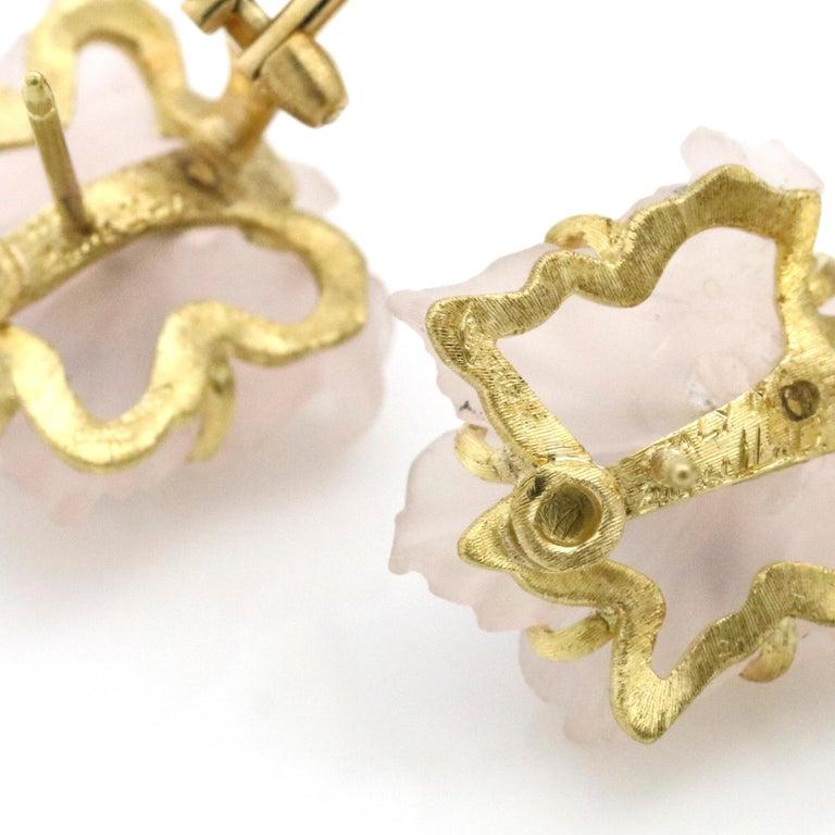 Buccellati 18 Karat Yellow Gold Carved Rose Quartz Sapphire Flower Stud Earrings For Sale 1