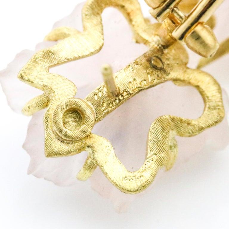 Buccellati 18 Karat Yellow Gold Carved Rose Quartz Sapphire Flower Stud Earrings For Sale 2