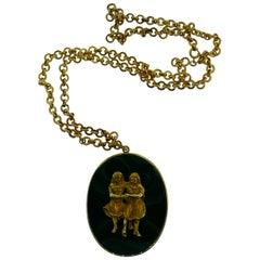 Buccellati 18k Yellow Gold & Malachite Gemini Pendant Necklace Vintage C. 1960s