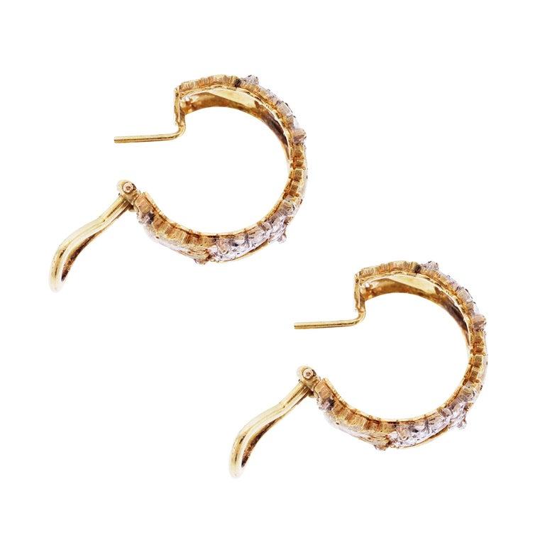 Round Cut Buccellati 18 Karat Yellow White Gold Diamond Floral Hoop Earrings For Sale