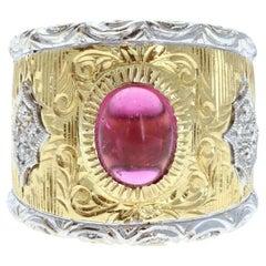 Buccellati 18k Yellow & White Gold Pink Cabochon Tourmaline Diamond Ring 15.8g