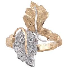 Buccellati 18 Karat Gold and Diamond Foliate Ring