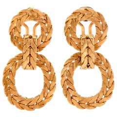 Buccellati 1950s Door Knocker Laurel Wreath 18 Karat Gold Omega Back Earrings