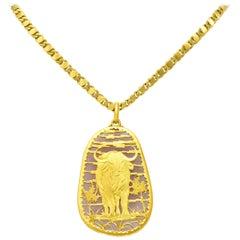 Buccellati 1980 Rose Quartz 18 Karat Gold Water Buffalo Pendant Necklace
