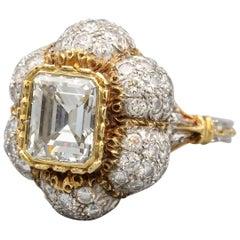 Buccellati 3 Carat Emerald Cut Diamond 18 Karat Gold Ring