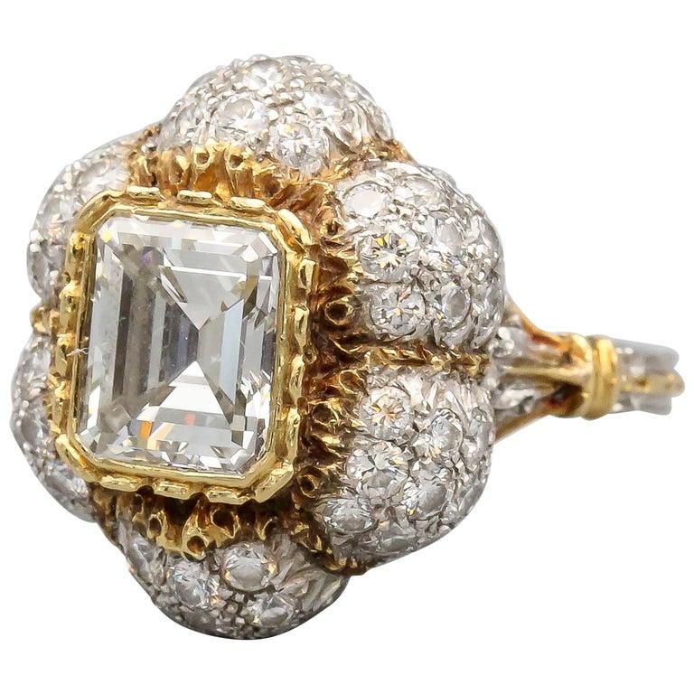 Buccellati 3 Carat Emerald Cut Diamond 18 Karat Gold Ring For Sale