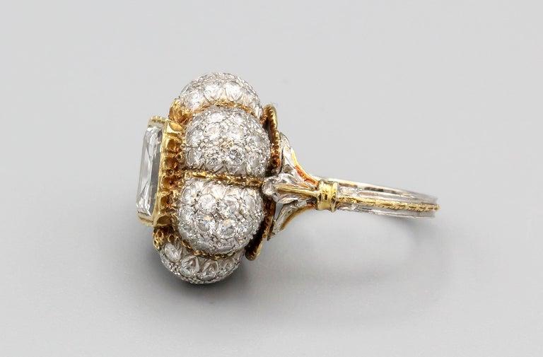 Buccellati 3 Carat Emerald Cut Diamond 18 Karat Gold Ring In Good Condition For Sale In New York, NY