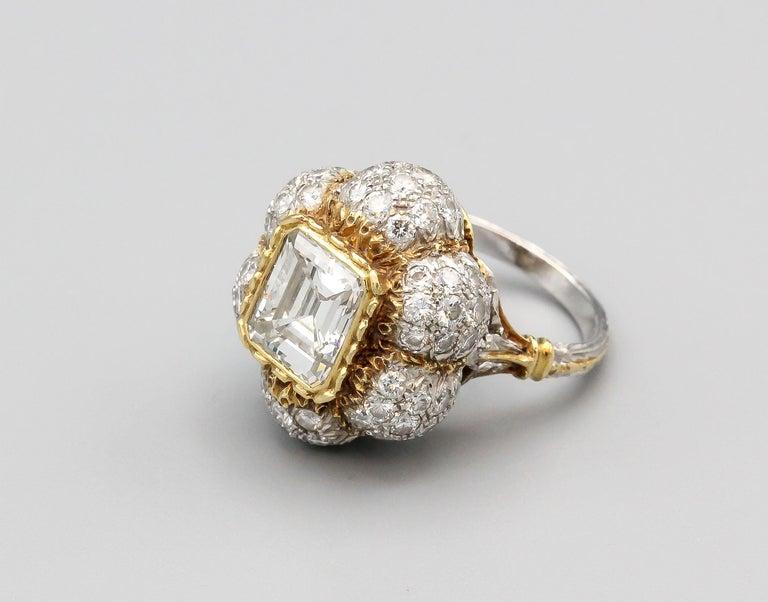 Women's Buccellati 3 Carat Emerald Cut Diamond 18 Karat Gold Ring For Sale