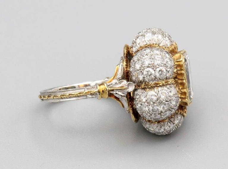 Buccellati 3 Carat Emerald Cut Diamond 18 Karat Gold Ring For Sale 1
