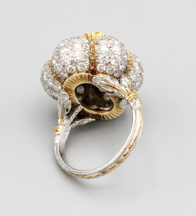 Buccellati 3 Carat Emerald Cut Diamond 18 Karat Gold Ring For Sale 2