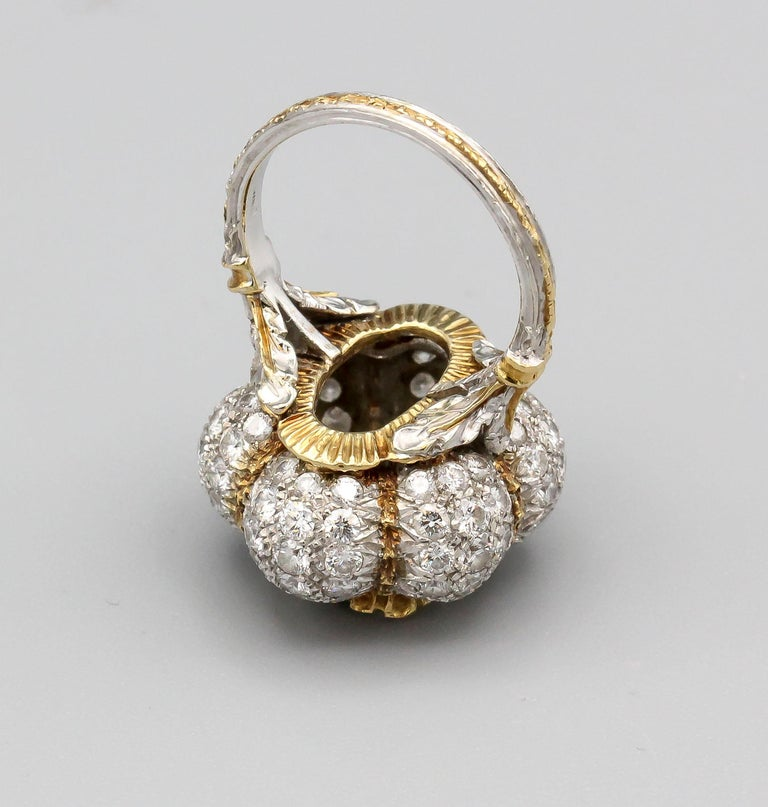 Buccellati 3 Carat Emerald Cut Diamond 18 Karat Gold Ring For Sale 3