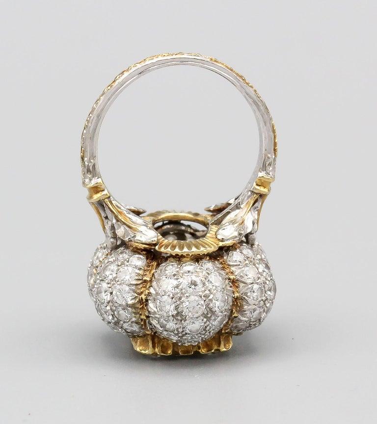 Buccellati 3 Carat Emerald Cut Diamond 18 Karat Gold Ring For Sale 4