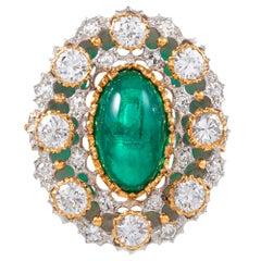 Buccellati 4.20 Carat Cabochon Emerald and Diamond Ring
