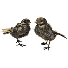 Buccellati, a Pair of Sparrows, Italian Pair of Silver Sculptures, ca. 1960's