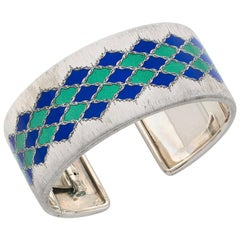Buccellati, an Enamel and Silver Bangle, circa 1970