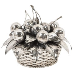 Buccellati, an Italian Sterling Silver Cherry Fruit Basket Bowl and Cover